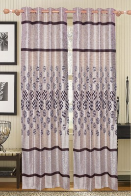 Furnishing Kingdom Polyester Silver, Black Abstract Ring Rod Door Curtain