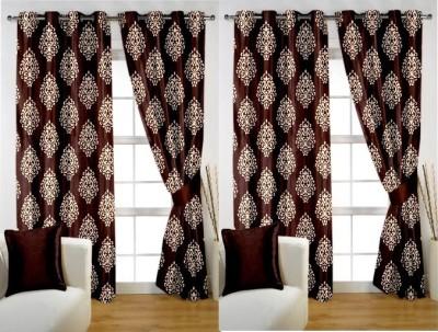 Rangoli Home Polyester Brown Printed Eyelet Door Curtain