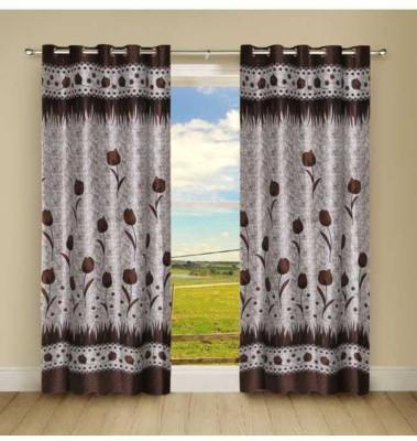 Shiv Shankar Handloom Polyester Coffee Floral Eyelet Long Door Curtain
