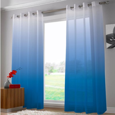 Right Polyester White, Blue Abstract Eyelet Door Curtain