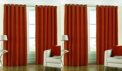 Rangoli Polyester Orange Self Design Eyelet Door Curtain
