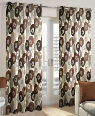 Just Linen Polyester Coffee Floral Eyelet Door Curtain