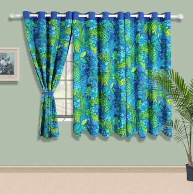Swayam Cotton Blue, Green Geometric Eyelet Window Curtain