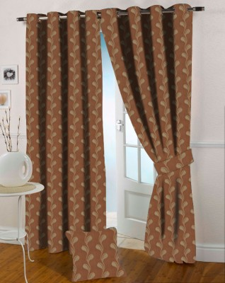Presto Polycotton Gold Floral Eyelet Door Curtain