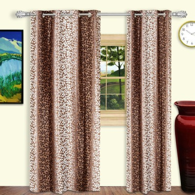 Dreaming Cotton Polyester Brown Floral Eyelet Door Curtain