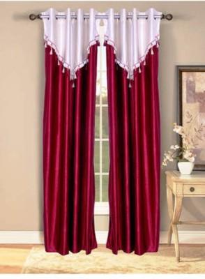 Handloomhub Polyester Maroon Self Design Eyelet Door Curtain