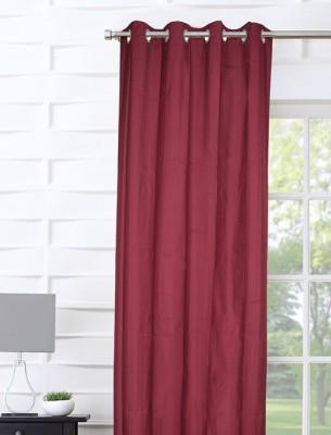 Portico New York Polyester Maroon Plain Curtain Door Curtain