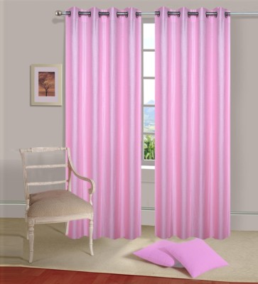 Home Elite Polyester Pink Plain Eyelet Door Curtain