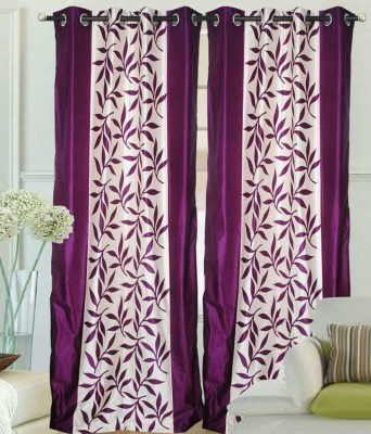 STC Polyester Purple Floral Eyelet Door Curtain
