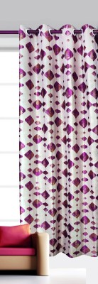 India Furnish Polycotton Purple Floral Eyelet Long Door Curtain