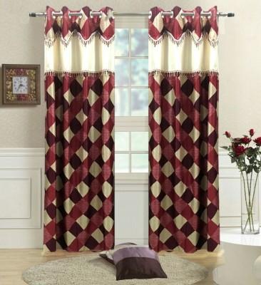 Giriraj Bichona Polyester MULTICOLOUR Checkered Eyelet Door Curtain