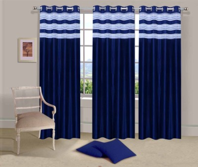 Ville Style Polyester Blue Solid Eyelet Door Curtain