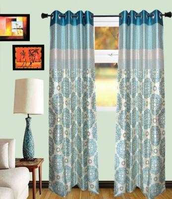 MF Viscose Acqa Blue Damask Eyelet Door Curtain