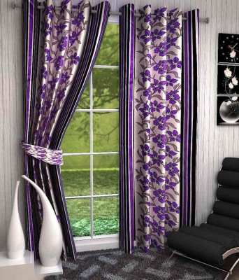 Click Weaves Polyester Purple Floral Eyelet Long Door Curtain