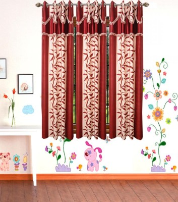 HomeZaara Polyester Multi-Color Embroidered Eyelet Window Curtain