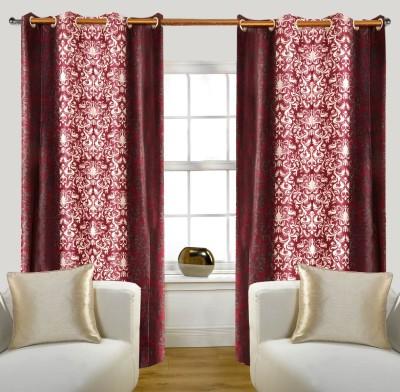 Glamora Interiors Polyester Maroon Printed Eyelet Window & Door Curtain