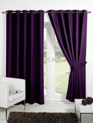 Homec Polyester Purple Solid Eyelet Long Door Curtain