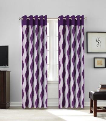 fflaunt Polyester Purple Printed Eyelet Window Curtain