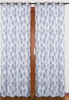 Cosmosgalaxy Polycotton Grey, White Printed Eyelet Door Curtain(213 cm in Height, Single Curtain)