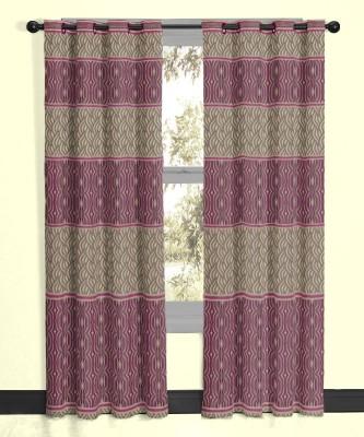 Vivace Homes Jacquard, Polyester Pink Geometric Eyelet Door Curtain