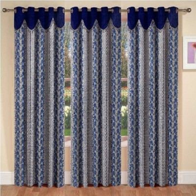 La elite Polyester Blue Abstract Eyelet Door Curtain