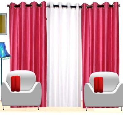 Handloom Hut Polyester Dark Pink, White Crush Solid Eyelet Window Curtain