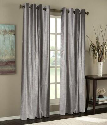 Sai Arpan Polyester Silver Plain Eyelet Door Curtain