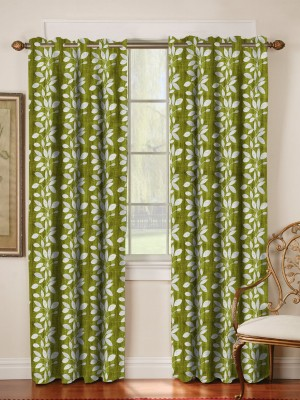 Mahamantra Polyester Green Floral Eyelet Window Curtain