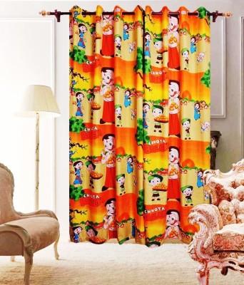 The Great Indian Shop Polyester Yellow Cartoon Curtain Door Curtain