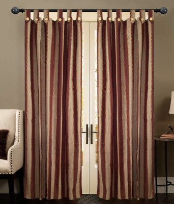 New Ladies Zone Cotton Brown Striped Tab Top Door Curtain