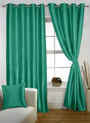 RedHot Polyester Blue Plain Eyelet Window Curtain