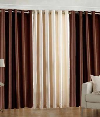 Big Onlineshop Polyester Brown, Cream Plain Eyelet Door Curtain