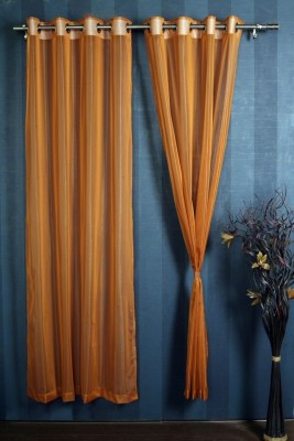 Mondeo Polyester Orange Solid Eyelet Door Curtain