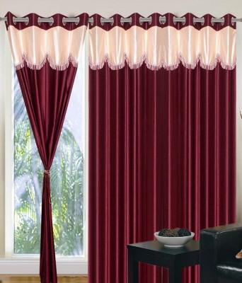 Deco Home Polyester Maroon Plain Eyelet Door Curtain