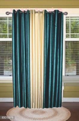 shoppeholics Polyester Sky Blue & Off White Plain Curtain Door Curtain