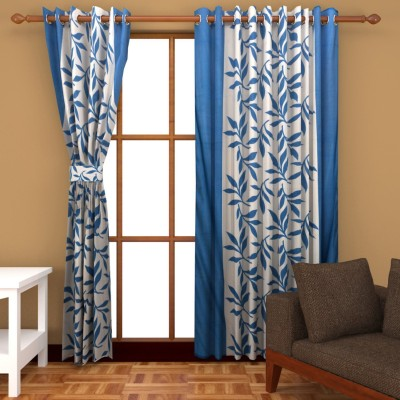 SLV Home Decor Polyester Aqua Blue Floral Eyelet Window Curtain