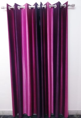 K Gallery Polyester Purple, Pink Striped Eyelet Door Curtain