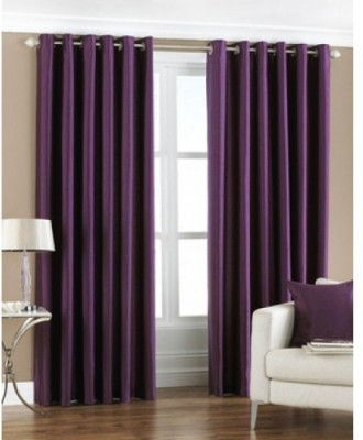 Optimistic Home Furnishing Polyester Purple Solid Tab Top Door Curtain