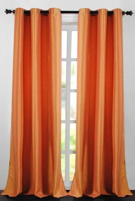Deco Essential Polyester Gold/Tera Plain Eyelet Window Curtain