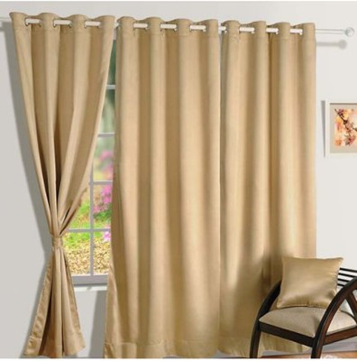 Curtains By Maya Designs Blends Gold Solid Eyelet Window & Door Curtain