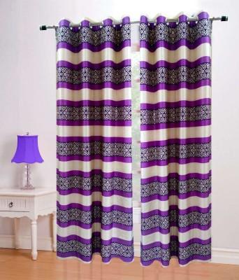 HandloomVilla Polyester Purple Floral Eyelet Door Curtain
