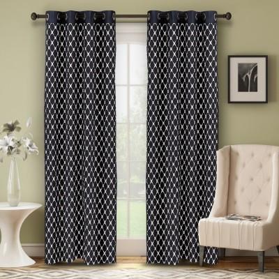 Soumya Polycotton Black Plain Eyelet Door Curtain