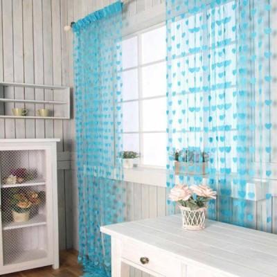 Msept Polyester Blue Printed Eyelet Window & Door Curtain