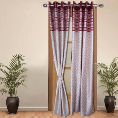 Shoppeholics Silk Maroon, White Self Design Eyelet Door Curtain