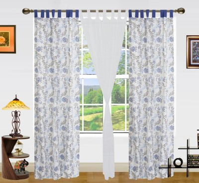 Dekor World Cotton White Printed Tab Top Long Door Curtain