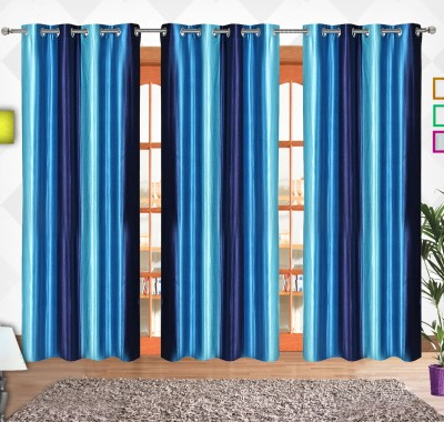 Comfort Zone Polyester Sky Blue And Blue Solid Eyelet Door Curtain
