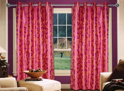 Home Creations Polyester Orange Floral Eyelet Door Curtain