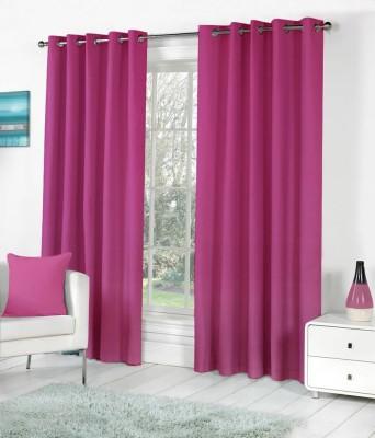 BSB Trendz Polyester Pink Plain Eyelet Door Curtain