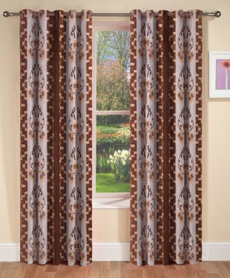 AJ Interior Polyester Coffee Printed Eyelet Door Curtain