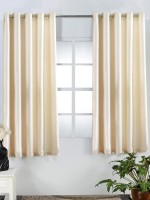Homefab India Polyester White Solid Eyelet Window Curtain(152 cm in Height, Pack of 2)